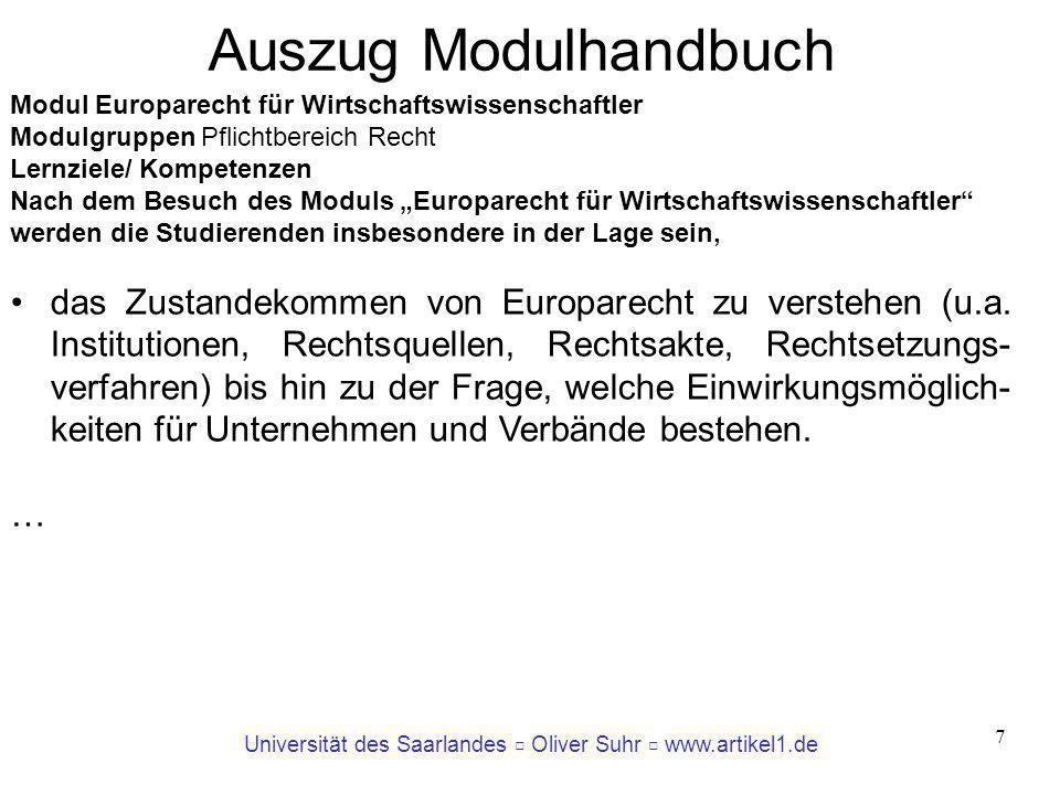 Auszug Modulhandbuch Modul Europarecht für Wirtschaftswissenschaftler. Modulgruppen Pflichtbereich Recht.