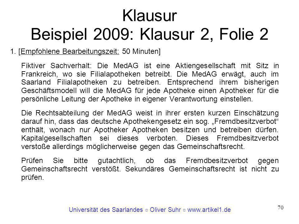 Klausur Beispiel 2009: Klausur 2, Folie 2