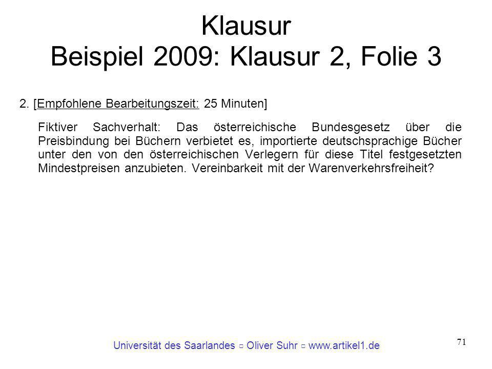 Klausur Beispiel 2009: Klausur 2, Folie 3
