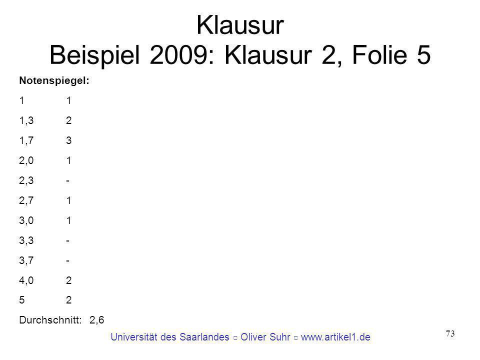 Klausur Beispiel 2009: Klausur 2, Folie 5