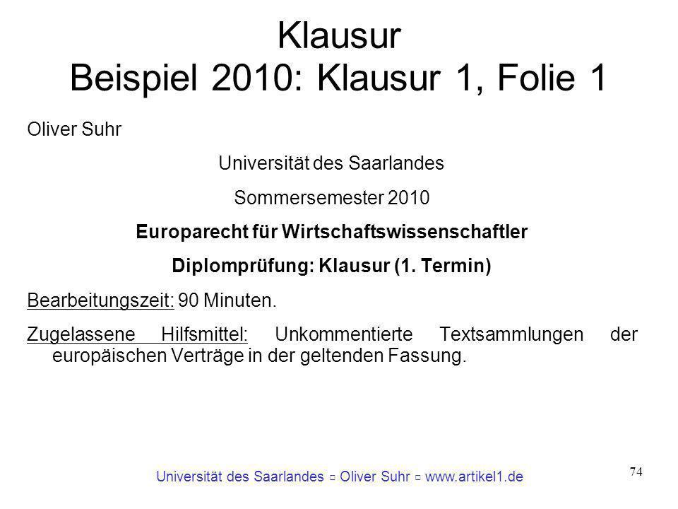 Klausur Beispiel 2010: Klausur 1, Folie 1