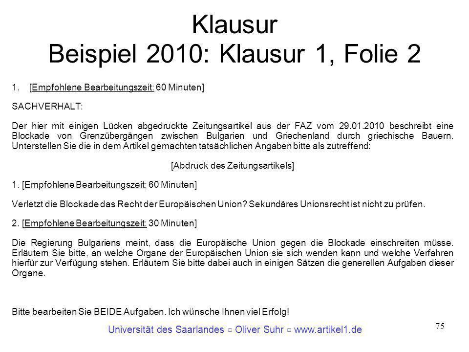 Klausur Beispiel 2010: Klausur 1, Folie 2