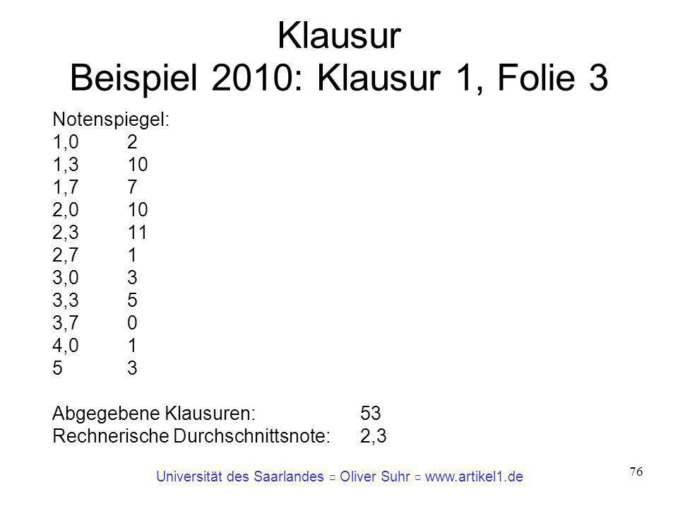 Klausur Beispiel 2010: Klausur 1, Folie 3