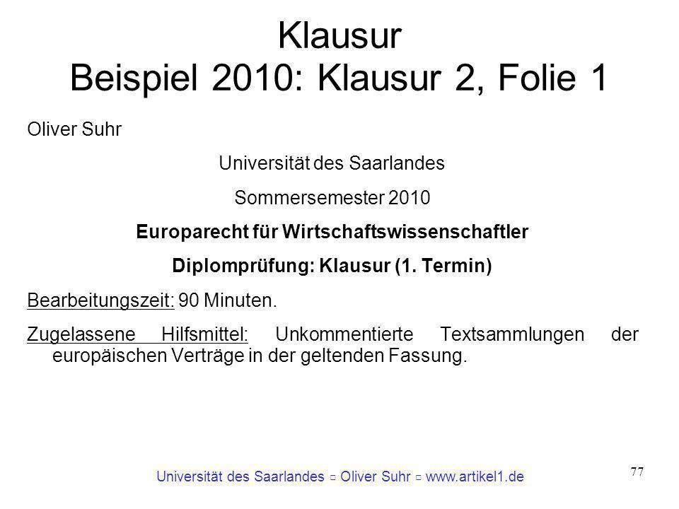 Klausur Beispiel 2010: Klausur 2, Folie 1
