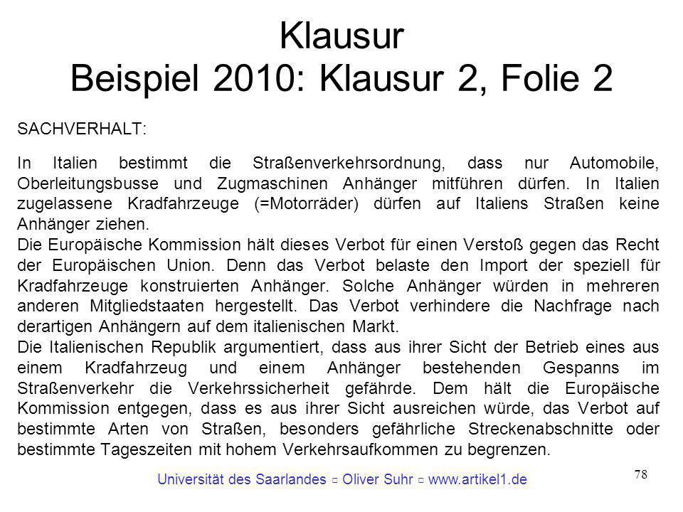 Klausur Beispiel 2010: Klausur 2, Folie 2