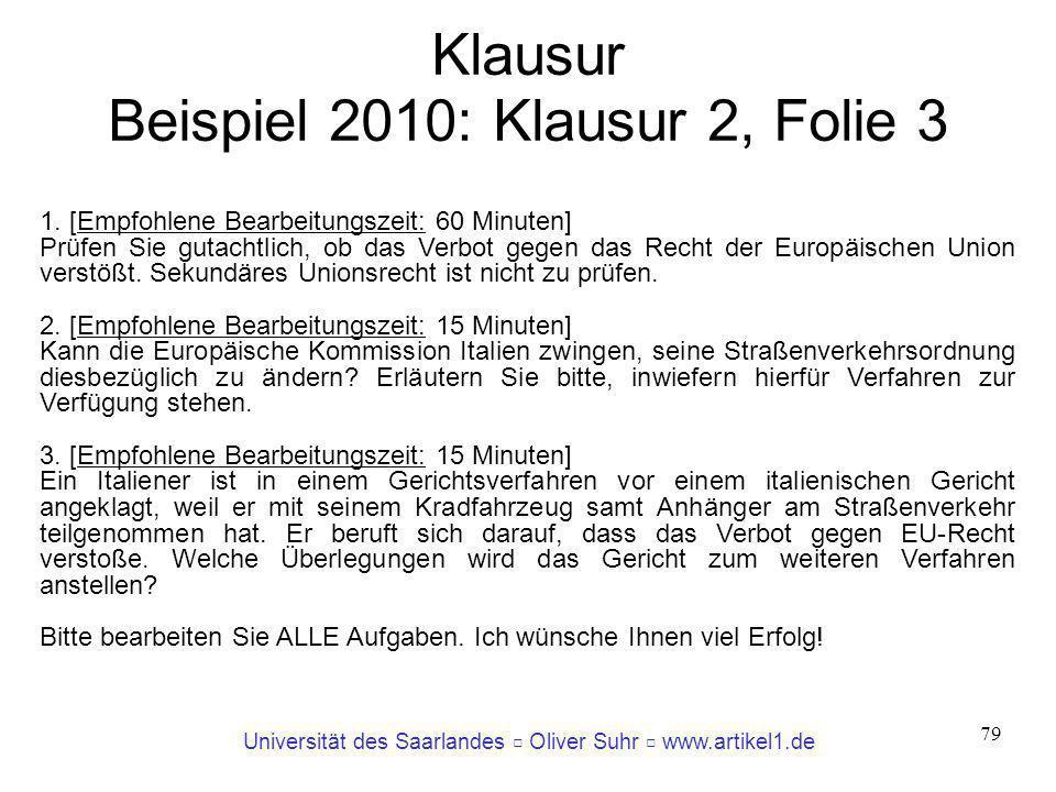 Klausur Beispiel 2010: Klausur 2, Folie 3