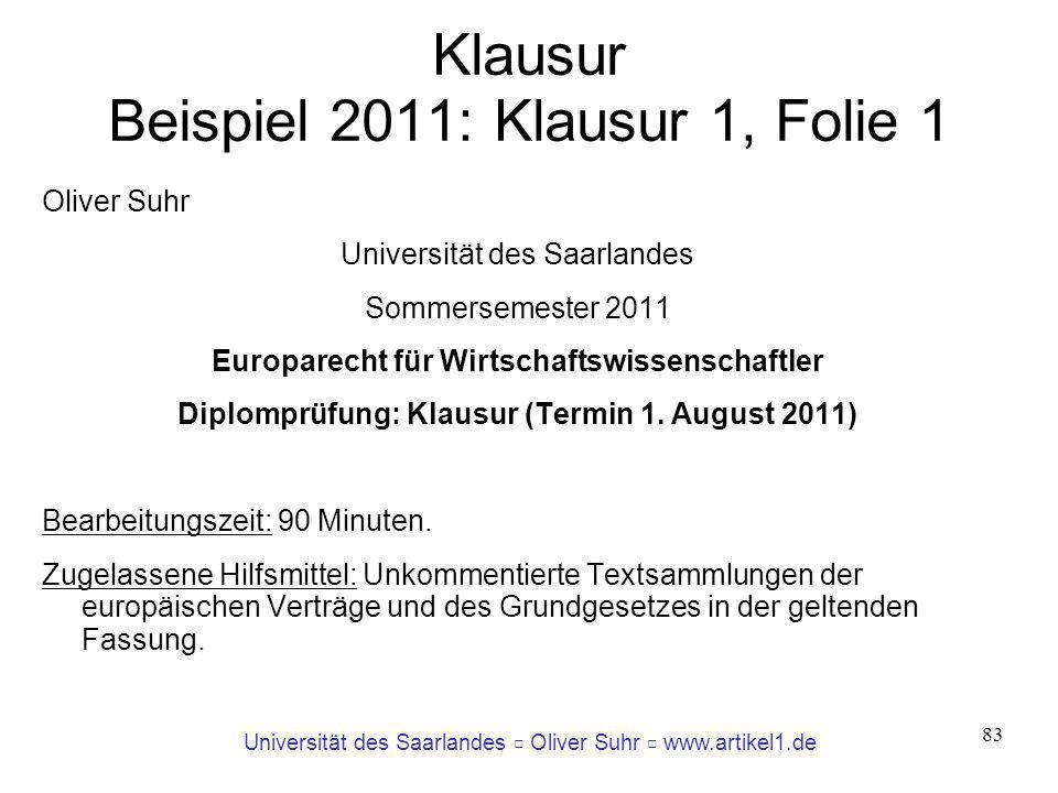 Klausur Beispiel 2011: Klausur 1, Folie 1