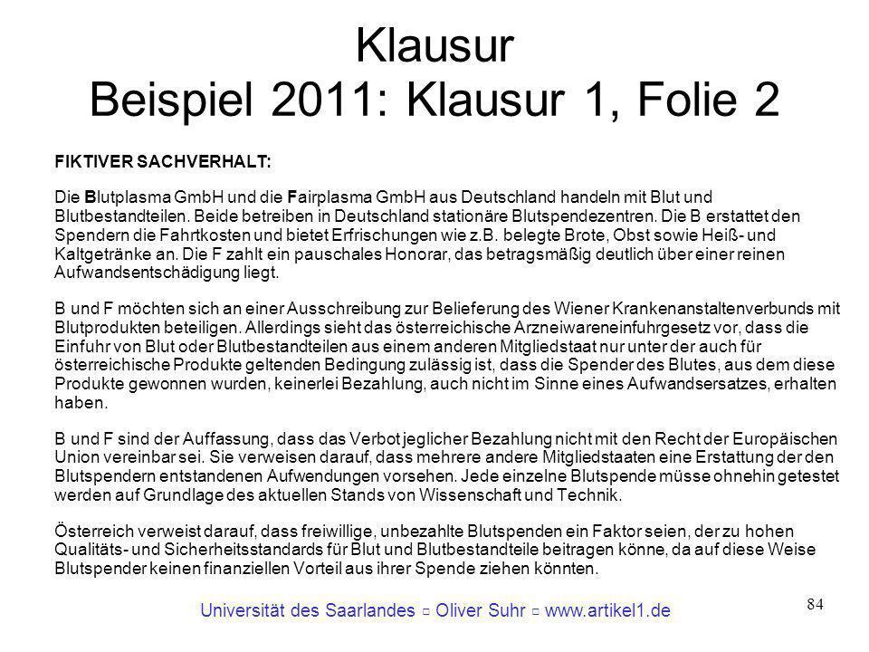 Klausur Beispiel 2011: Klausur 1, Folie 2