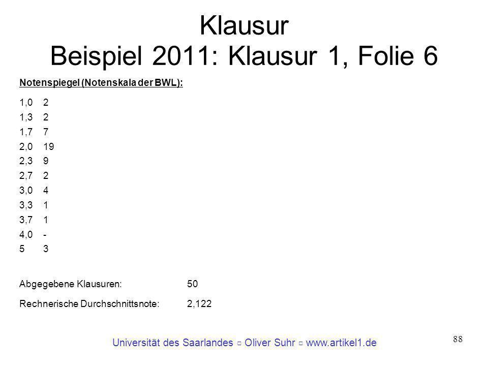 Klausur Beispiel 2011: Klausur 1, Folie 6