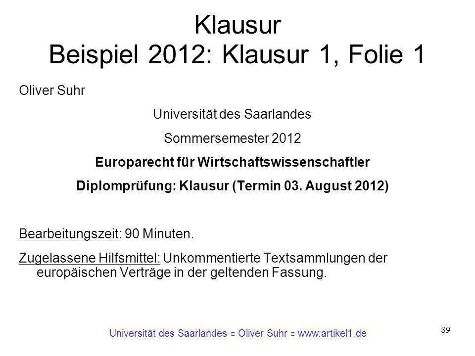 Klausur Beispiel 2012: Klausur 1, Folie 1