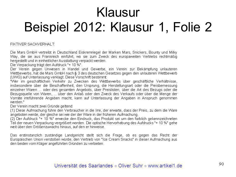 Klausur Beispiel 2012: Klausur 1, Folie 2