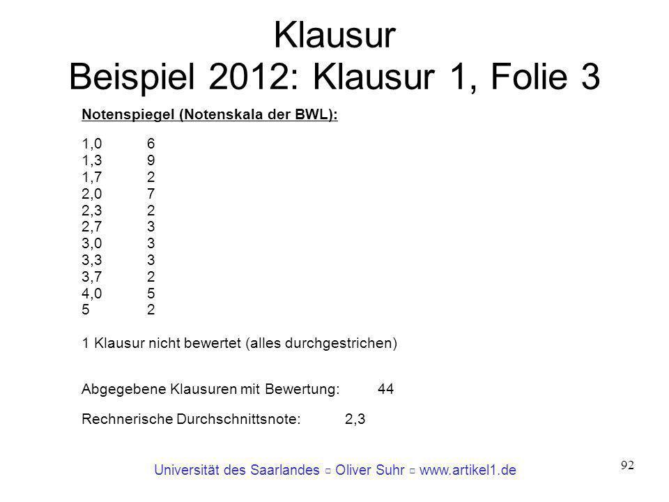 Klausur Beispiel 2012: Klausur 1, Folie 3