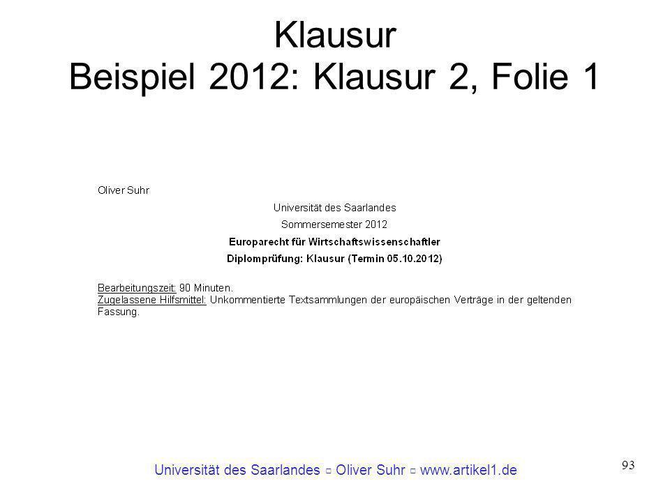 Klausur Beispiel 2012: Klausur 2, Folie 1