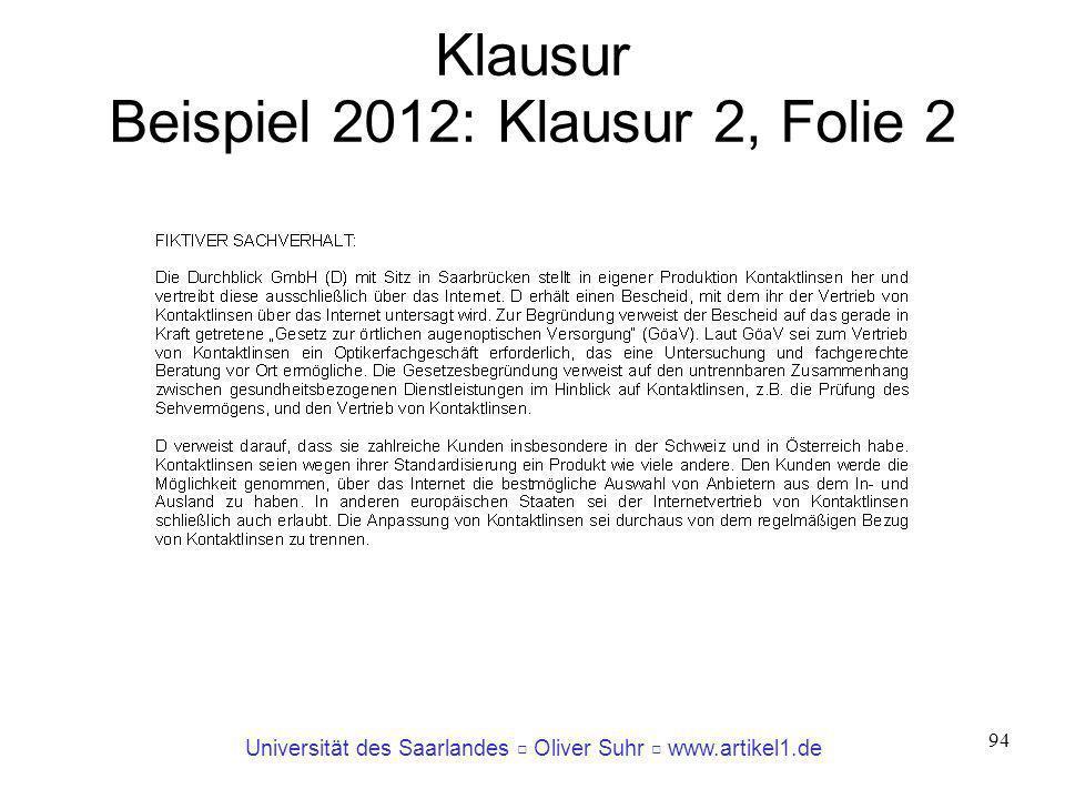 Klausur Beispiel 2012: Klausur 2, Folie 2