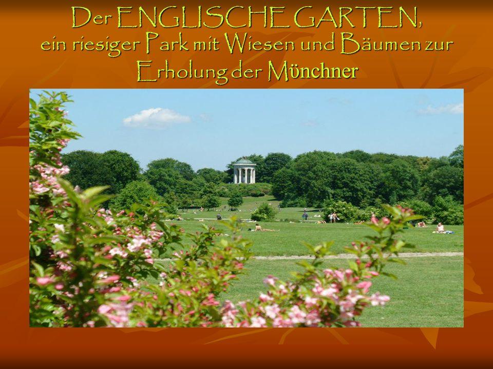 Der ENGLISCHE GARTEN, ein riesiger Park mit Wiesen und Bäumen zur Erholung der Mϋnchner