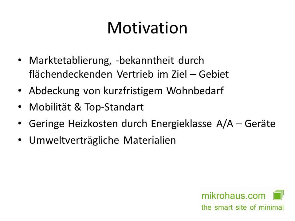 Motivation Marktetablierung, -bekanntheit durch flächendeckenden Vertrieb im Ziel – Gebiet. Abdeckung von kurzfristigem Wohnbedarf.