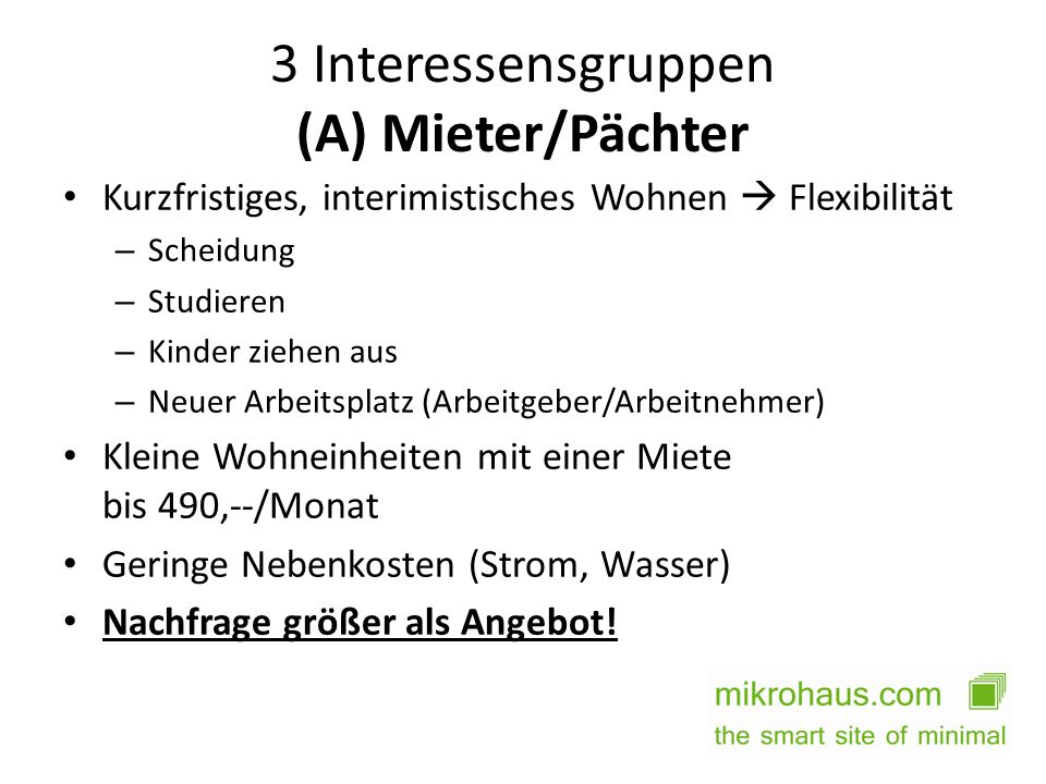 3 Interessensgruppen (A) Mieter/Pächter