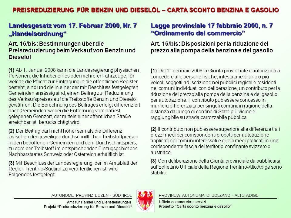 "Landesgesetz vom 17. Februar 2000, Nr. 7 ""Handelsordnung"