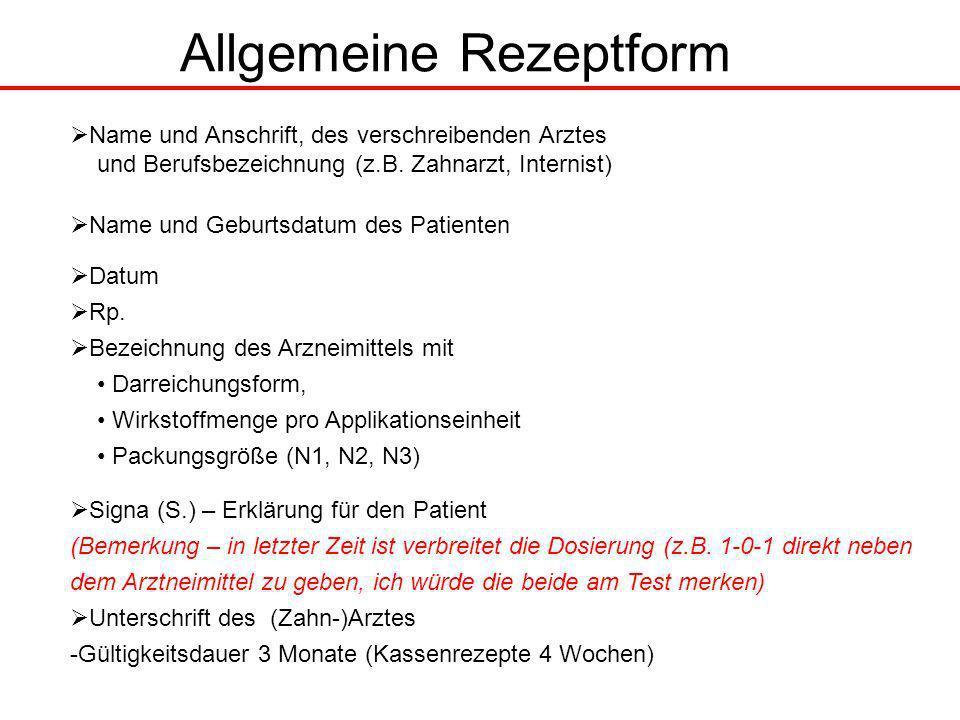 Allgemeine Rezeptform