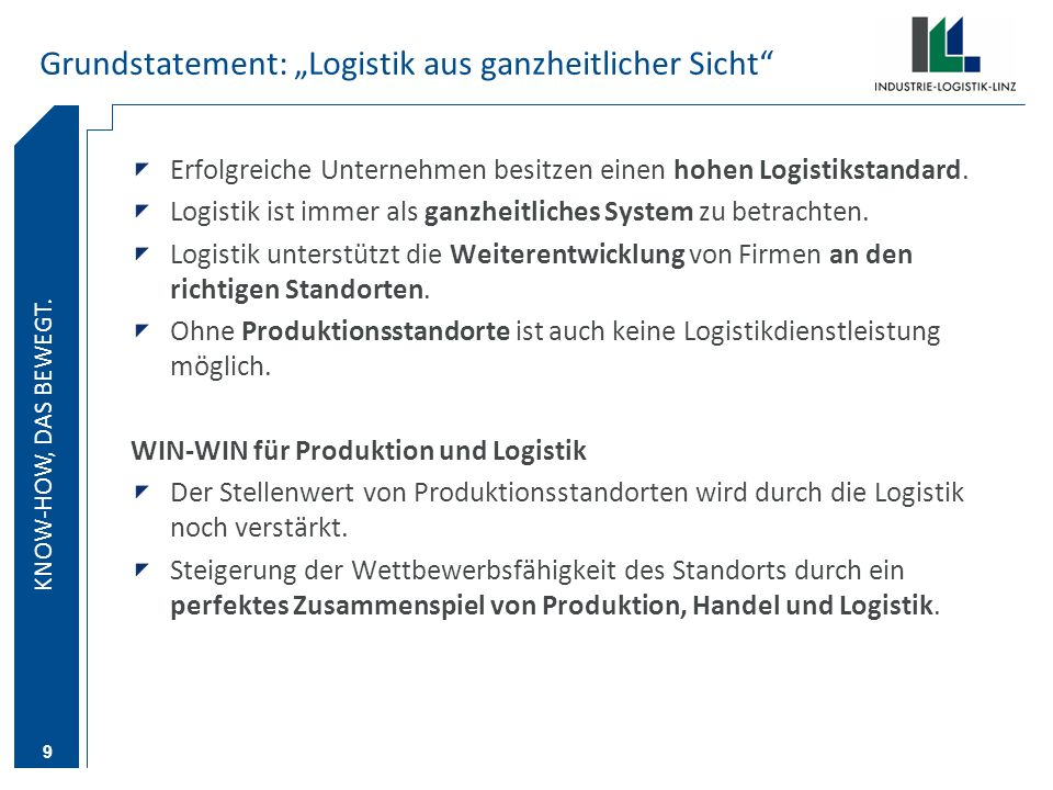 """Grundstatement: """"Logistik aus ganzheitlicher Sicht"""
