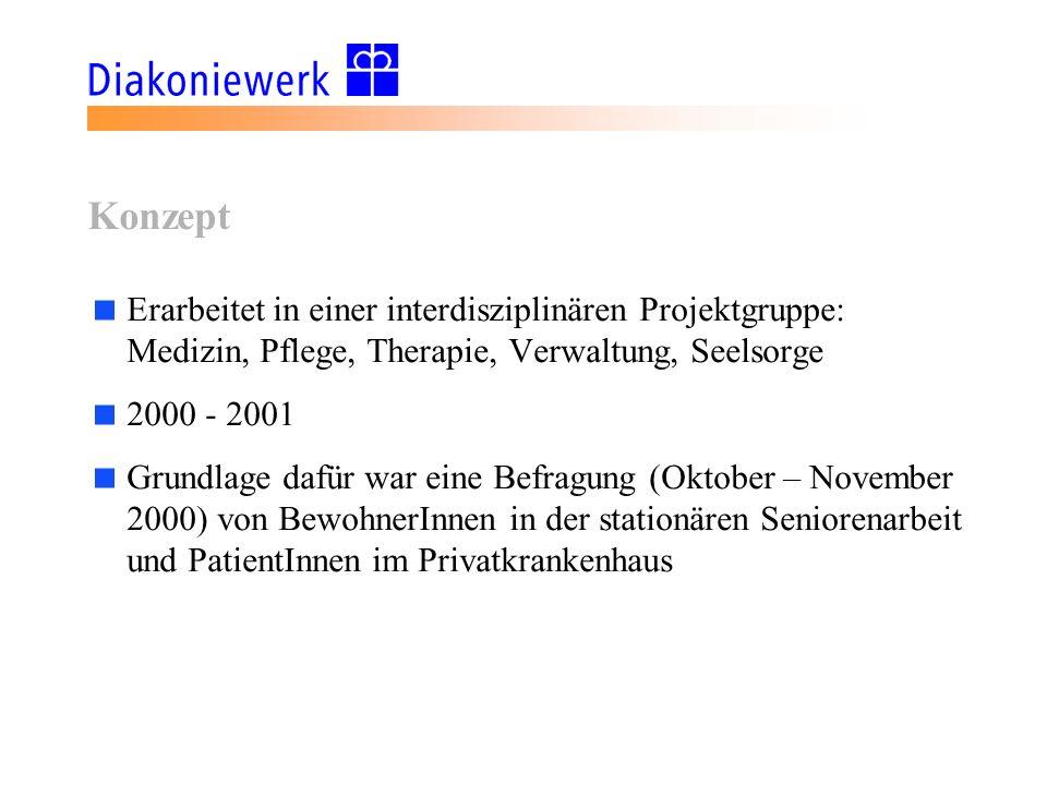 Konzept Erarbeitet in einer interdisziplinären Projektgruppe: Medizin, Pflege, Therapie, Verwaltung, Seelsorge.
