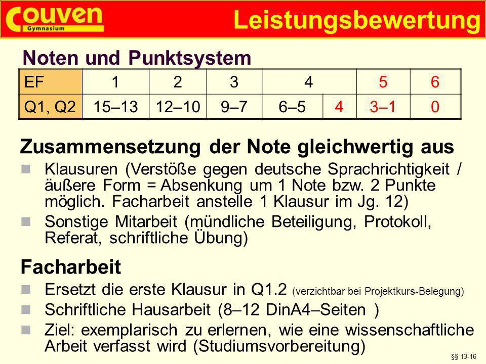 Leistungsbewertung Noten und Punktsystem