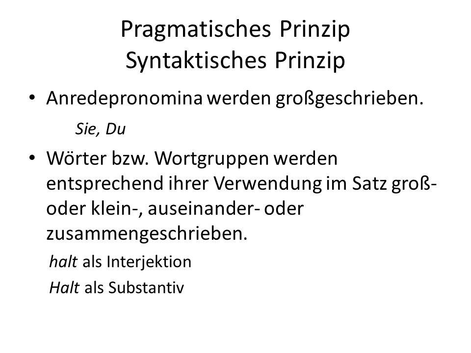 Pragmatisches Prinzip Syntaktisches Prinzip