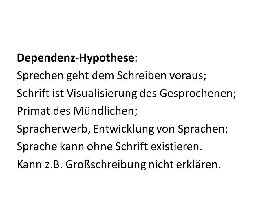 Dependenz-Hypothese: Sprechen geht dem Schreiben voraus; Schrift ist Visualisierung des Gesprochenen; Primat des Mündlichen; Spracherwerb, Entwicklung von Sprachen; Sprache kann ohne Schrift existieren.