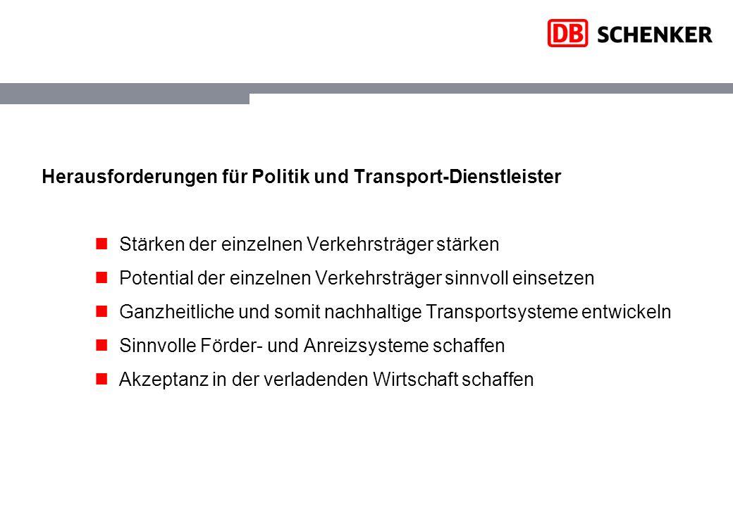 Herausforderungen für Politik und Transport-Dienstleister