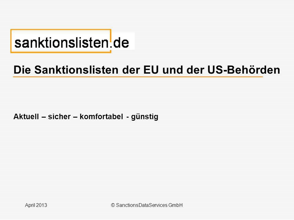 Die Sanktionslisten der EU und der US-Behörden