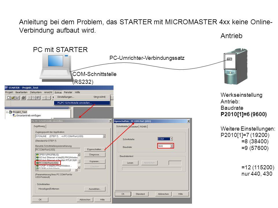 Anleitung bei dem Problem, das STARTER mit MICROMASTER 4xx keine Online- Verbindung aufbaut wird.