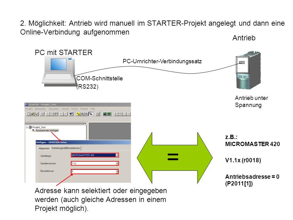 2. Möglichkeit: Antrieb wird manuell im STARTER-Projekt angelegt und dann eine Online-Verbindung aufgenommen