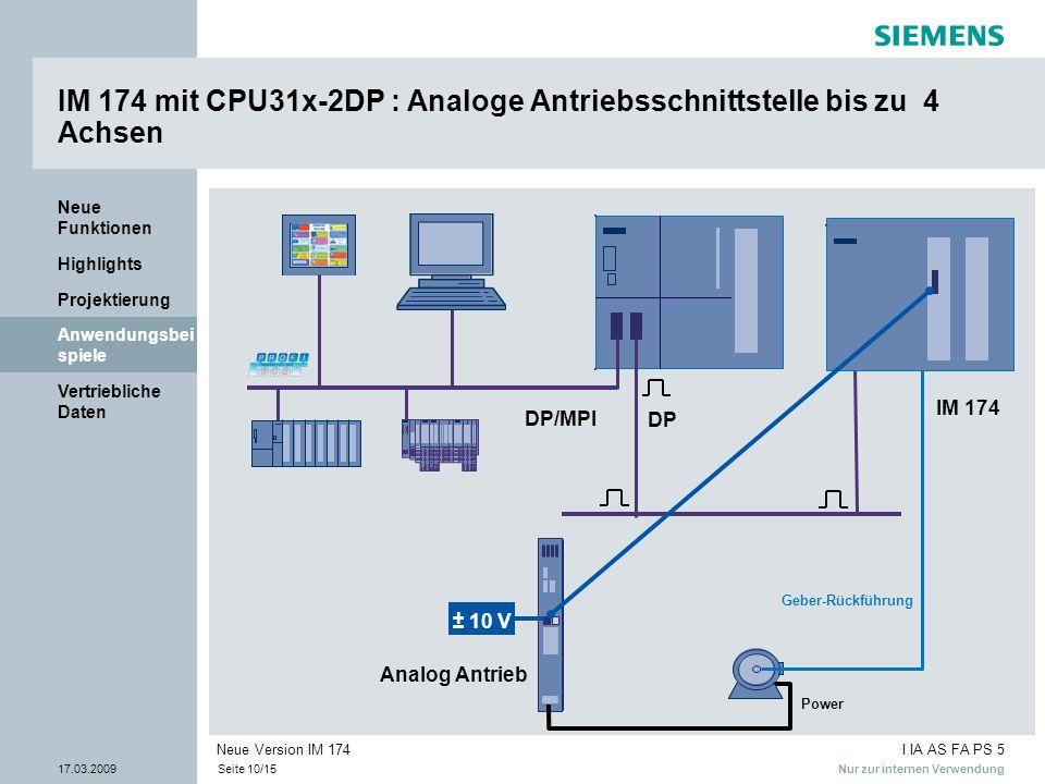 IM 174 mit CPU31x-2DP : Analoge Antriebsschnittstelle bis zu 4 Achsen