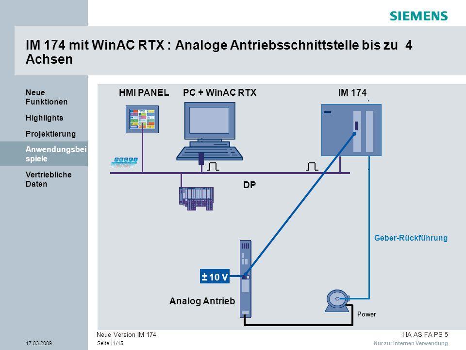 IM 174 mit WinAC RTX : Analoge Antriebsschnittstelle bis zu 4 Achsen