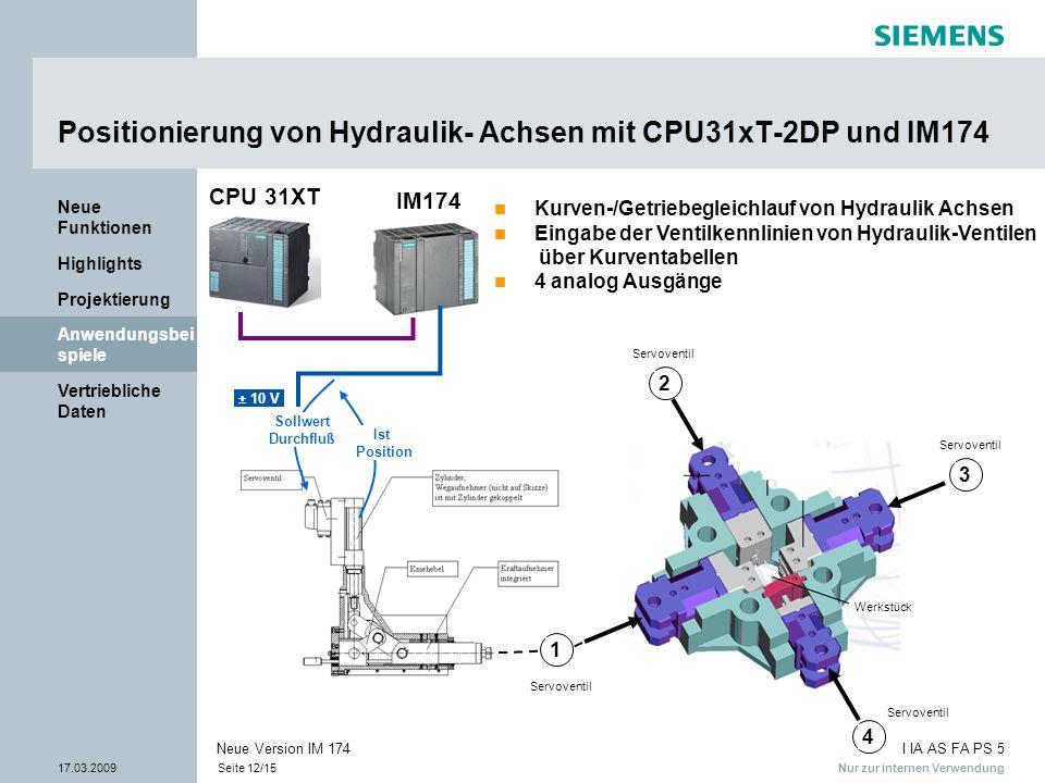 Positionierung von Hydraulik- Achsen mit CPU31xT-2DP und IM174