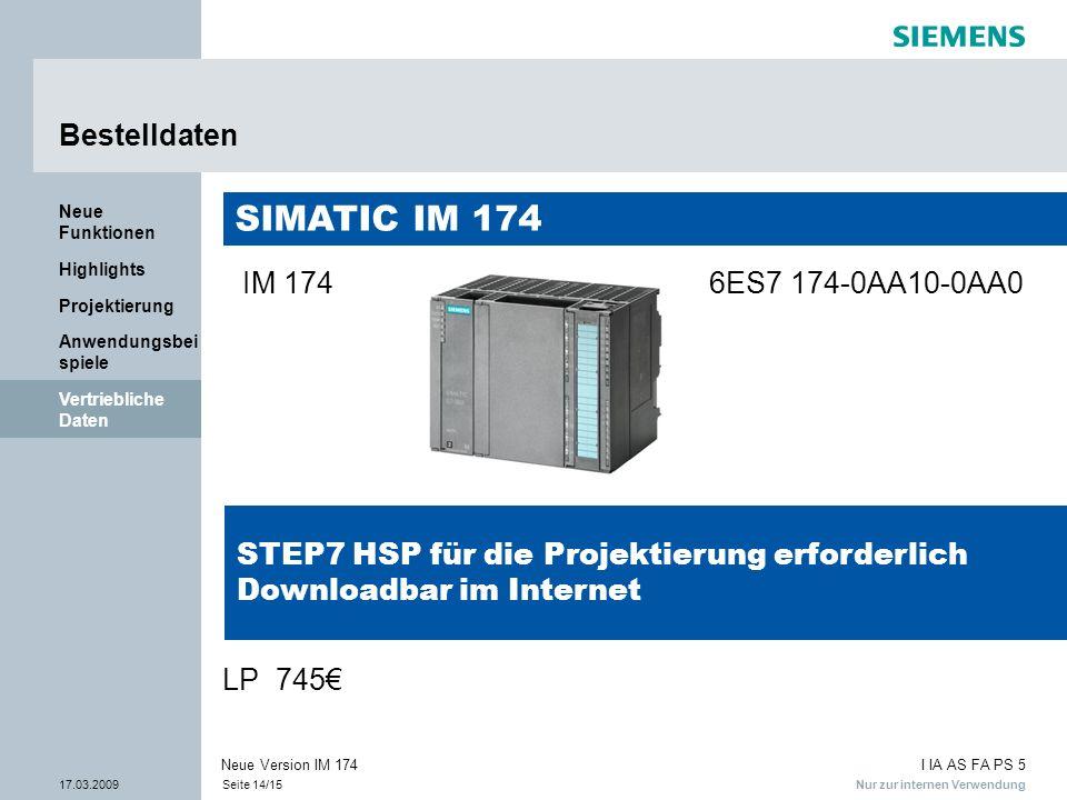 SIMATIC IM 174 Bestelldaten IM 174 6ES7 174-0AA10-0AA0