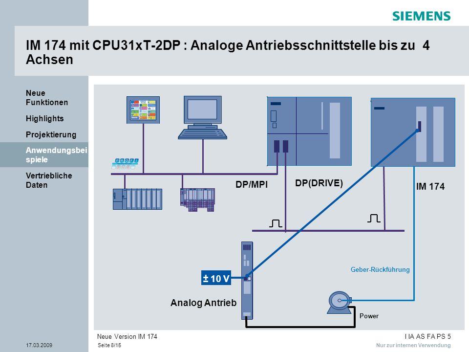 IM 174 mit CPU31xT-2DP : Analoge Antriebsschnittstelle bis zu 4 Achsen