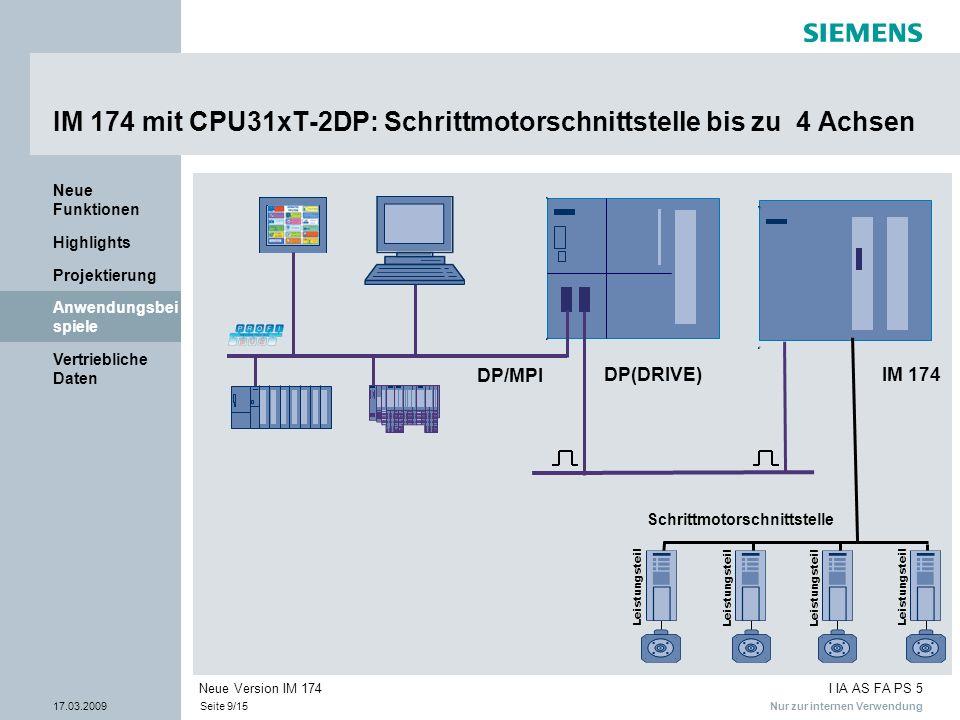 IM 174 mit CPU31xT-2DP: Schrittmotorschnittstelle bis zu 4 Achsen