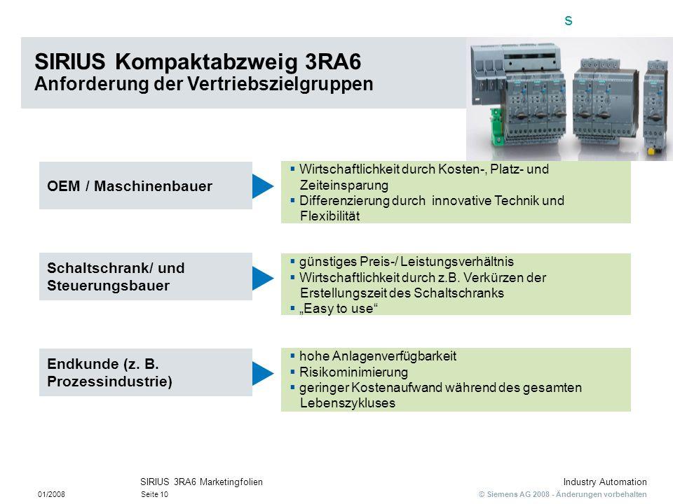 SIRIUS Kompaktabzweig 3RA6 Anforderung der Vertriebszielgruppen