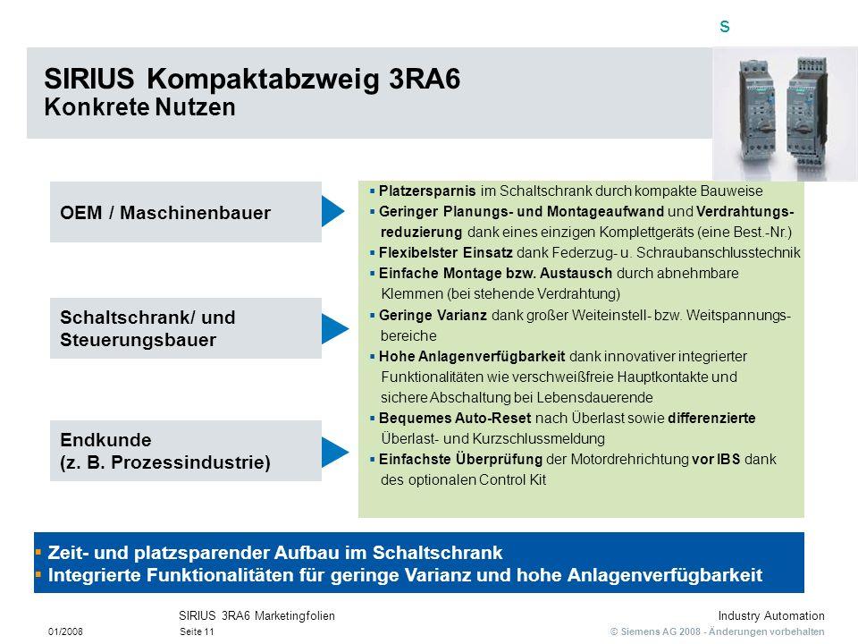 SIRIUS Kompaktabzweig 3RA6 Konkrete Nutzen