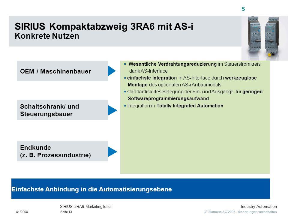 SIRIUS Kompaktabzweig 3RA6 mit AS-i Konkrete Nutzen