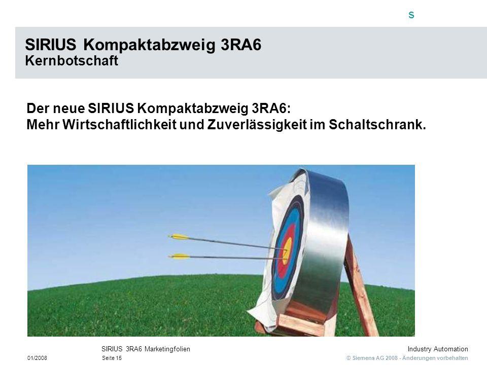SIRIUS Kompaktabzweig 3RA6 Kernbotschaft