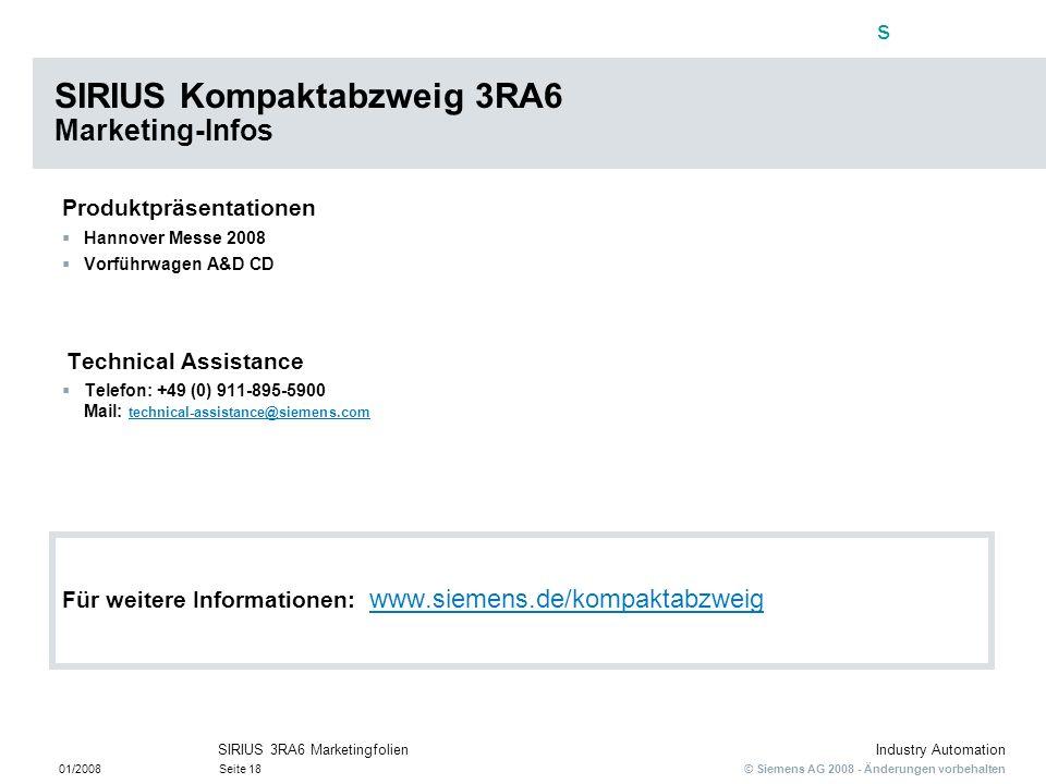 SIRIUS Kompaktabzweig 3RA6 Marketing-Infos