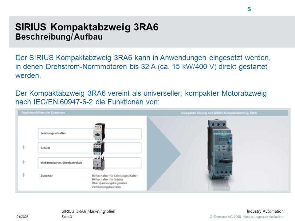 SIRIUS Kompaktabzweig 3RA6 Beschreibung/ Aufbau