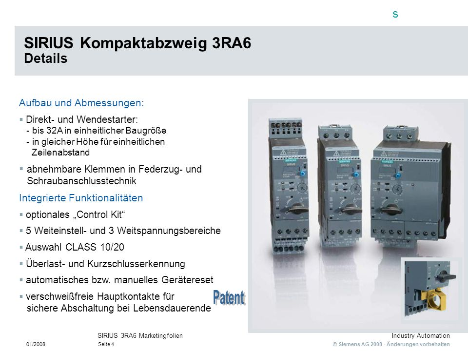 SIRIUS Kompaktabzweig 3RA6 Details