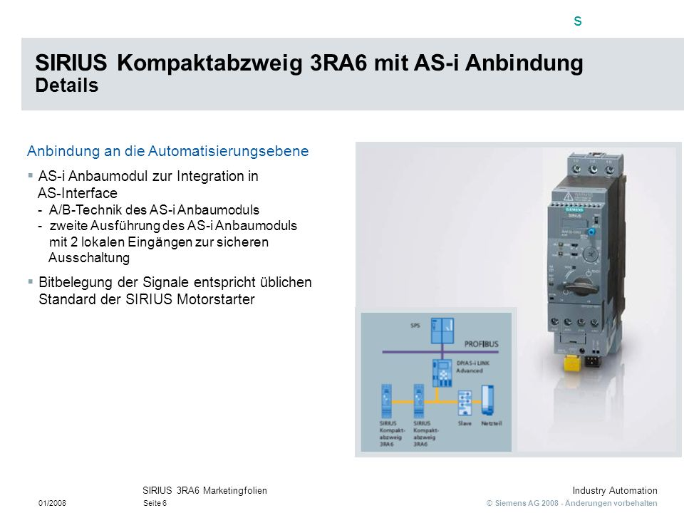 SIRIUS Kompaktabzweig 3RA6 mit AS-i Anbindung Details