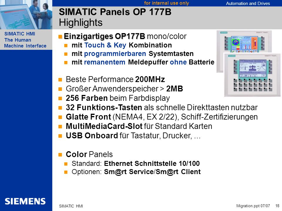 SIMATIC Panels OP 177B Highlights