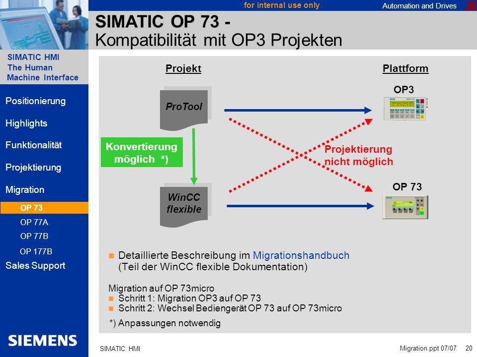 SIMATIC OP 73 - Kompatibilität mit OP3 Projekten