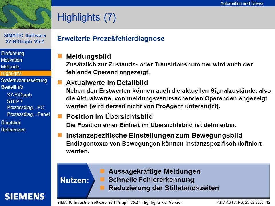 Highlights (7) Nutzen: Erweiterte Prozeßfehlerdiagnose
