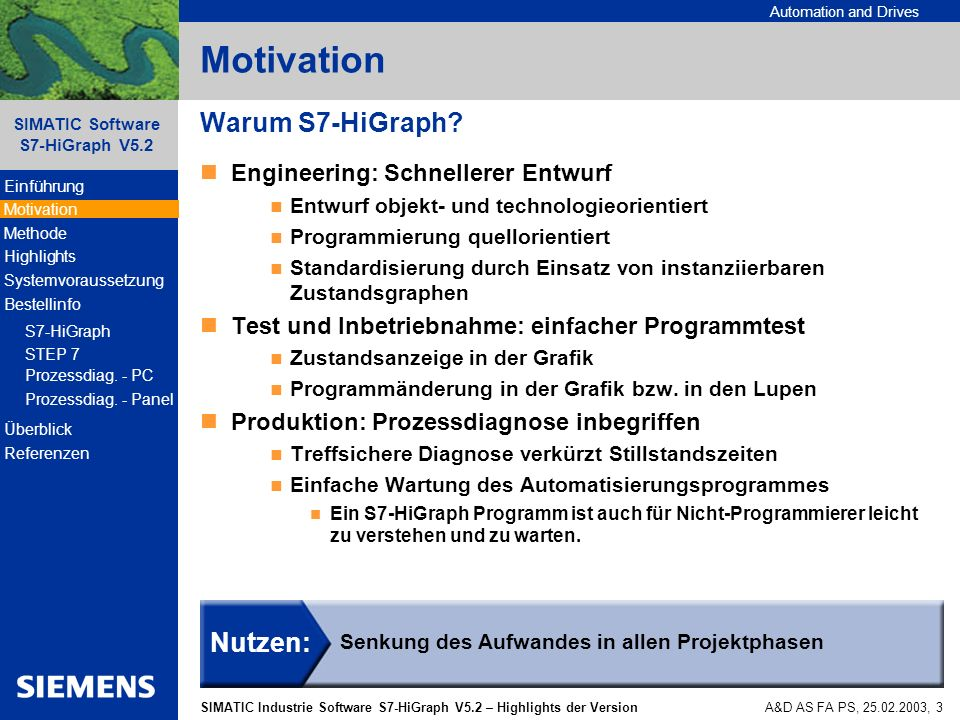 Motivation Warum S7-HiGraph Nutzen: Engineering: Schnellerer Entwurf